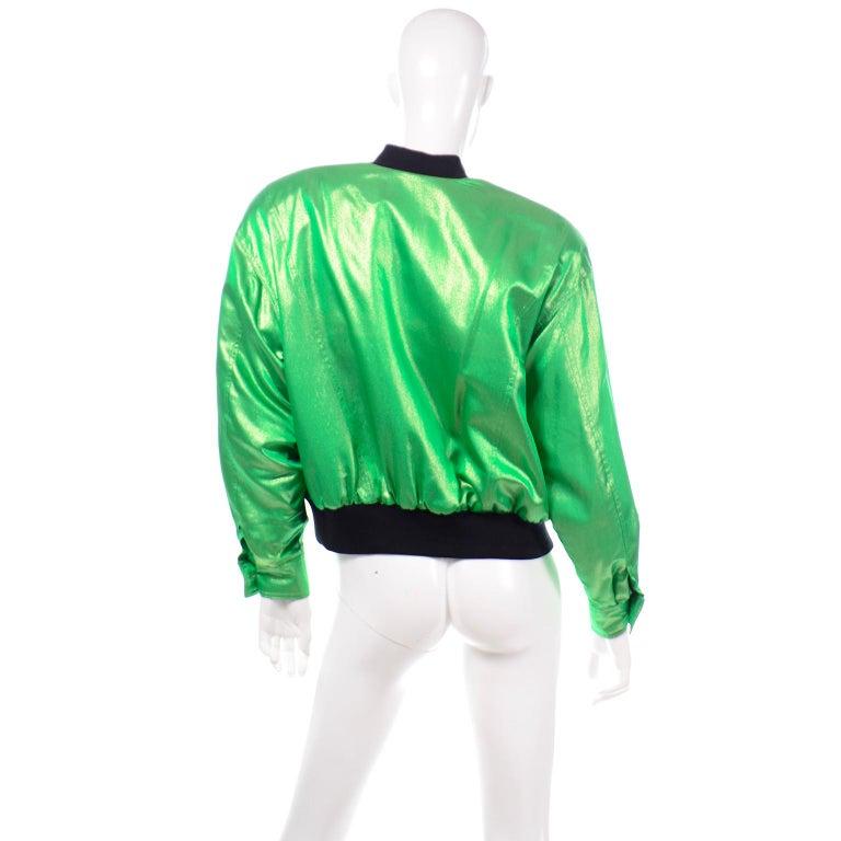 Women's Vintage Escada Margaretha Ley Iridescent Green Silk Bomber Jacket w Heart Lining For Sale