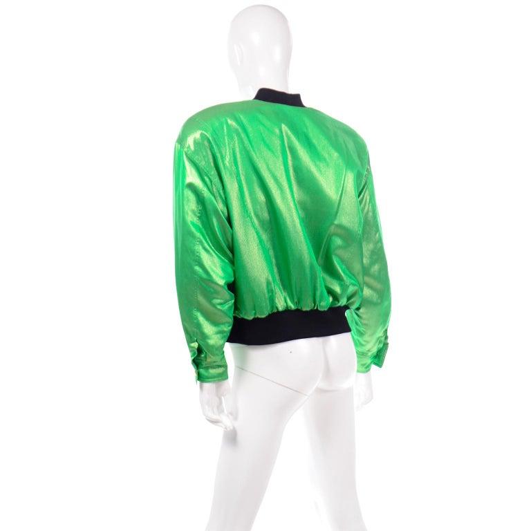 Vintage Escada Margaretha Ley Iridescent Green Silk Bomber Jacket w Heart Lining For Sale 1