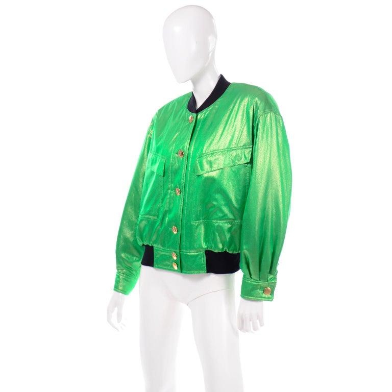Vintage Escada Margaretha Ley Iridescent Green Silk Bomber Jacket w Heart Lining For Sale 2
