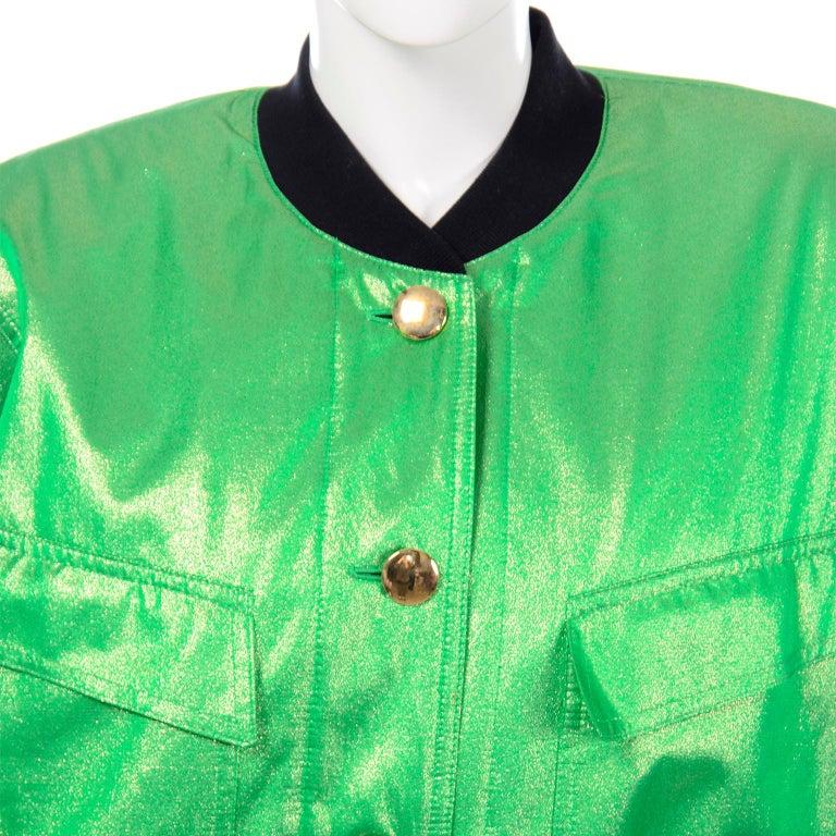 Vintage Escada Margaretha Ley Iridescent Green Silk Bomber Jacket w Heart Lining For Sale 3