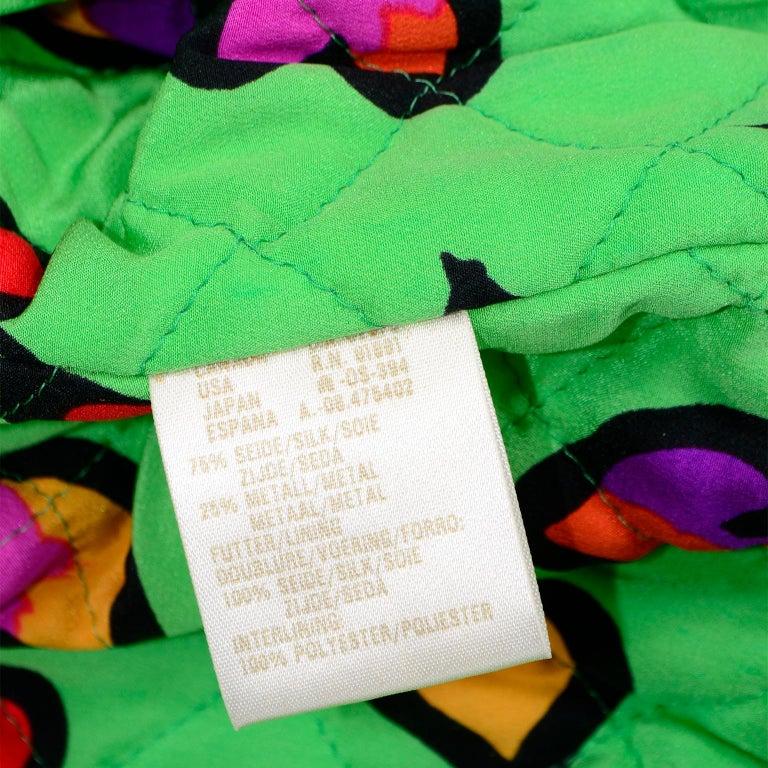 Vintage Escada Margaretha Ley Iridescent Green Silk Bomber Jacket w Heart Lining For Sale 4