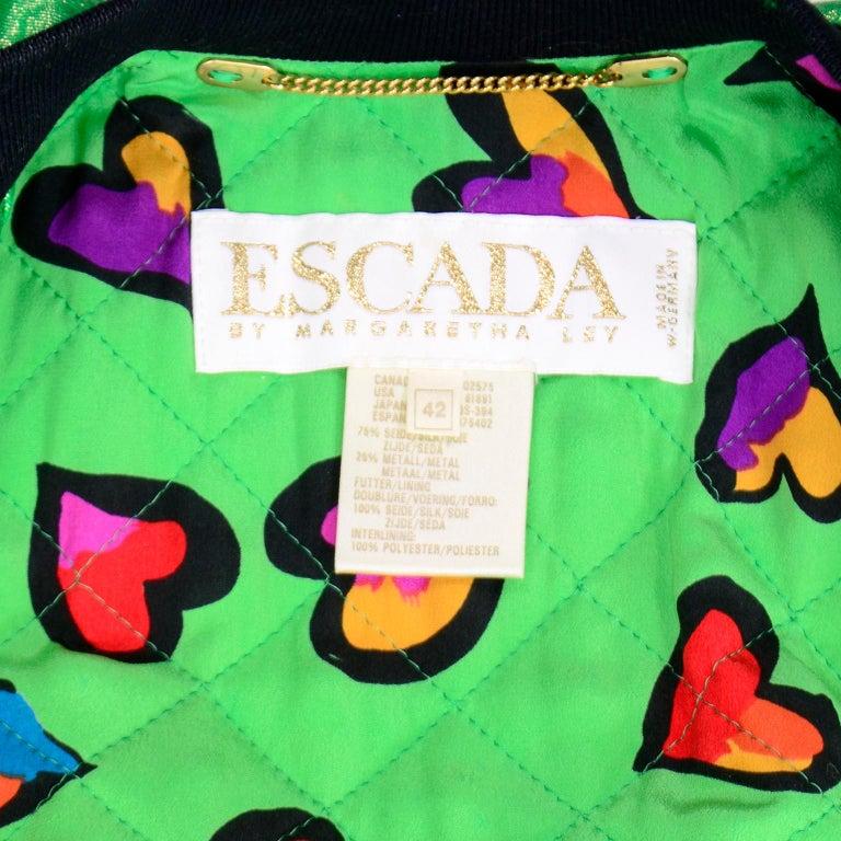 Vintage Escada Margaretha Ley Iridescent Green Silk Bomber Jacket w Heart Lining For Sale 5