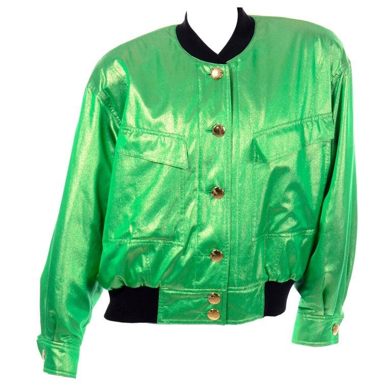 Vintage Escada Margaretha Ley Iridescent Green Silk Bomber Jacket w Heart Lining For Sale