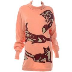 Vintage Escada Margaretha Ley Peach Oversized Fox Sweater