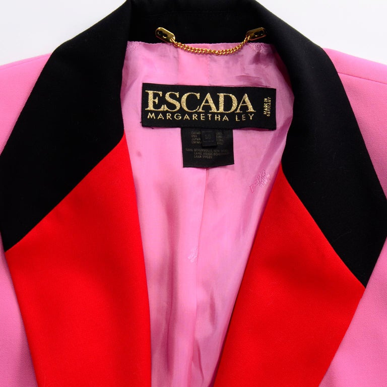Vintage Escada Margaretha Ley Pink Red & Black Colorblock Blazer Longline Jacket For Sale 7