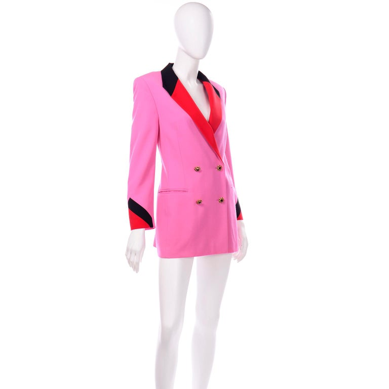 Vintage Escada Margaretha Ley Pink Red & Black Colorblock Blazer Longline Jacket In Excellent Condition For Sale In Portland, OR