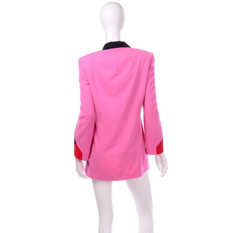 Women's Vintage Escada Margaretha Ley Pink Red & Black Colorblock Blazer Longline Jacket For Sale