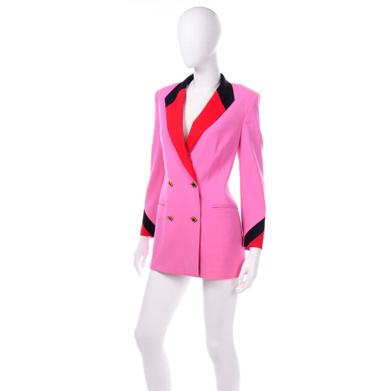 Vintage Escada Margaretha Ley Pink Red & Black Colorblock Blazer Longline Jacket For Sale 1