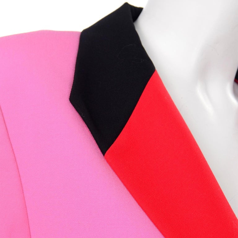 Vintage Escada Margaretha Ley Pink Red & Black Colorblock Blazer Longline Jacket For Sale 2