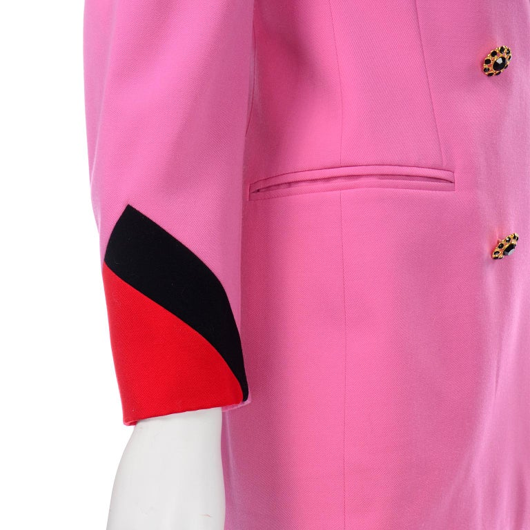 Vintage Escada Margaretha Ley Pink Red & Black Colorblock Blazer Longline Jacket For Sale 3