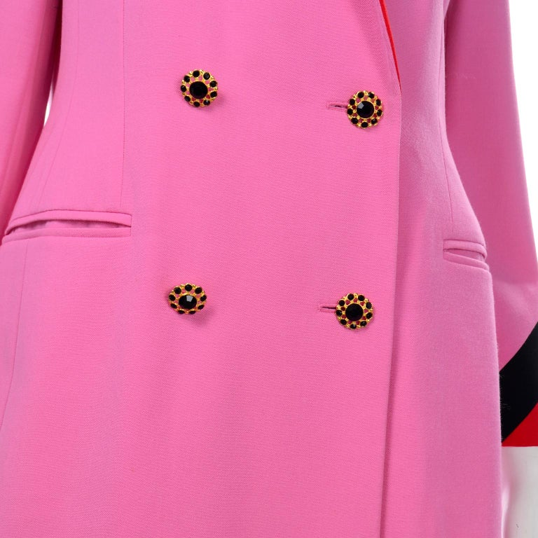Vintage Escada Margaretha Ley Pink Red & Black Colorblock Blazer Longline Jacket For Sale 4