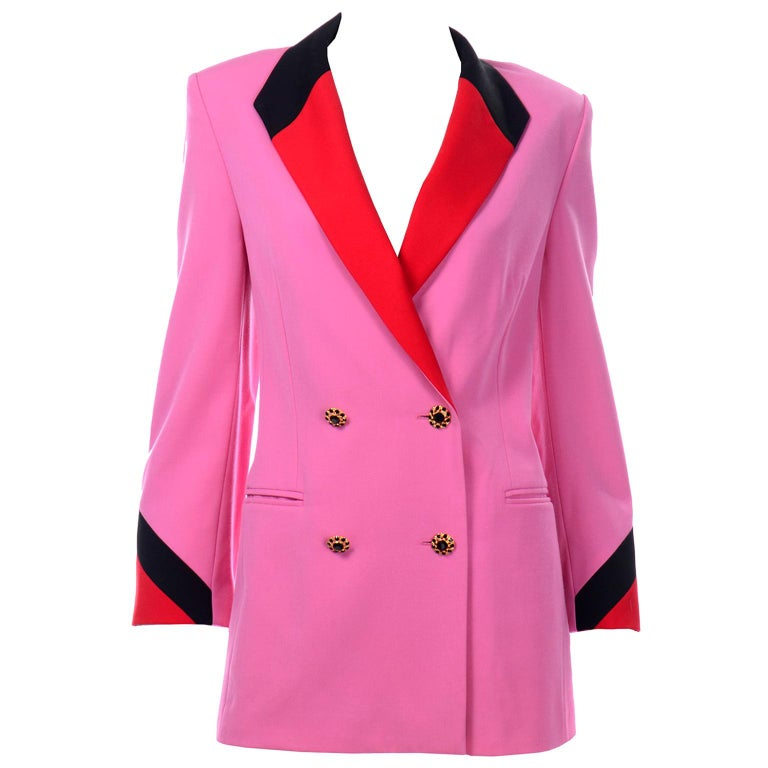 Vintage Escada Margaretha Ley Pink Red & Black Colorblock Blazer Longline Jacket For Sale
