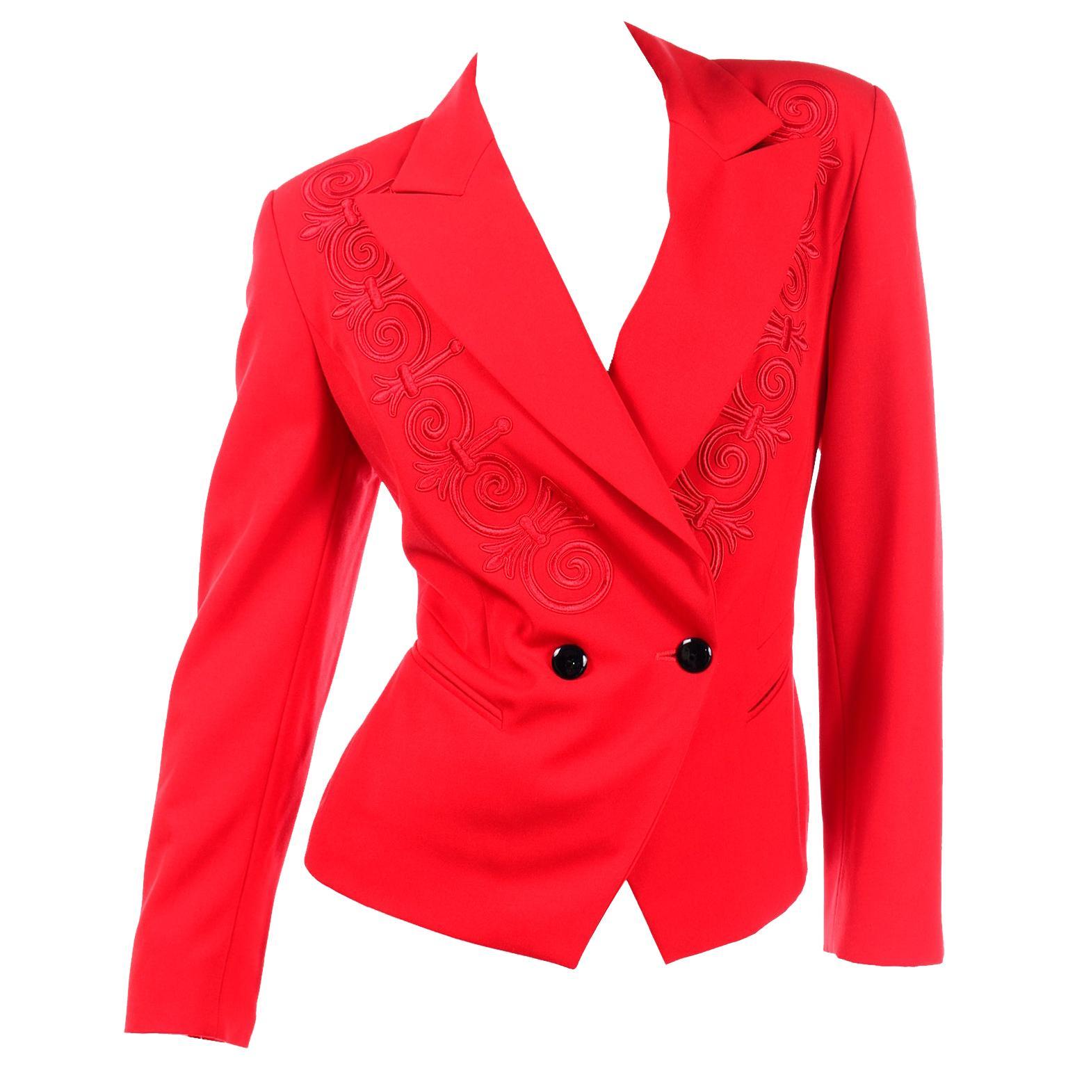Vintage Escada Margaretha Ley Red Embroidered Short Blazer Jackeet