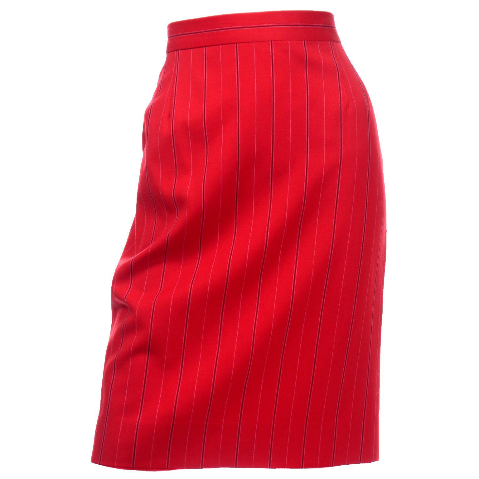 Vintage Escada Margaretha Ley Red Pinstripe Pencil Skirt