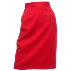 Vintage Escada Margaretha Ley Red Pinstripe Pencil Skirt