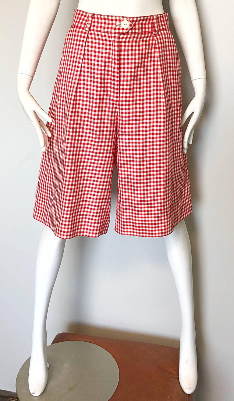 Vintage Escada Margaretha Ley Red White Nautical Gingham 1980s Culottes Shorts In Excellent Condition For Sale In Chicago, IL