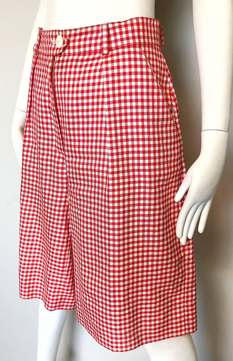 Women's Vintage Escada Margaretha Ley Red White Nautical Gingham 1980s Culottes Shorts For Sale