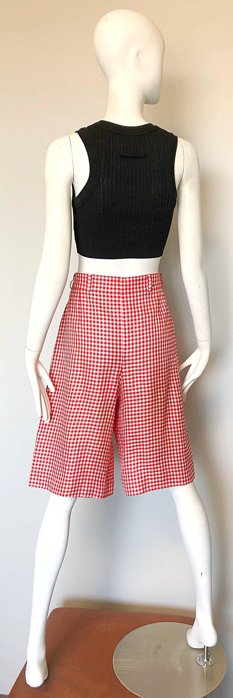 Vintage Escada Margaretha Ley Red White Nautical Gingham 1980s Culottes Shorts For Sale 1