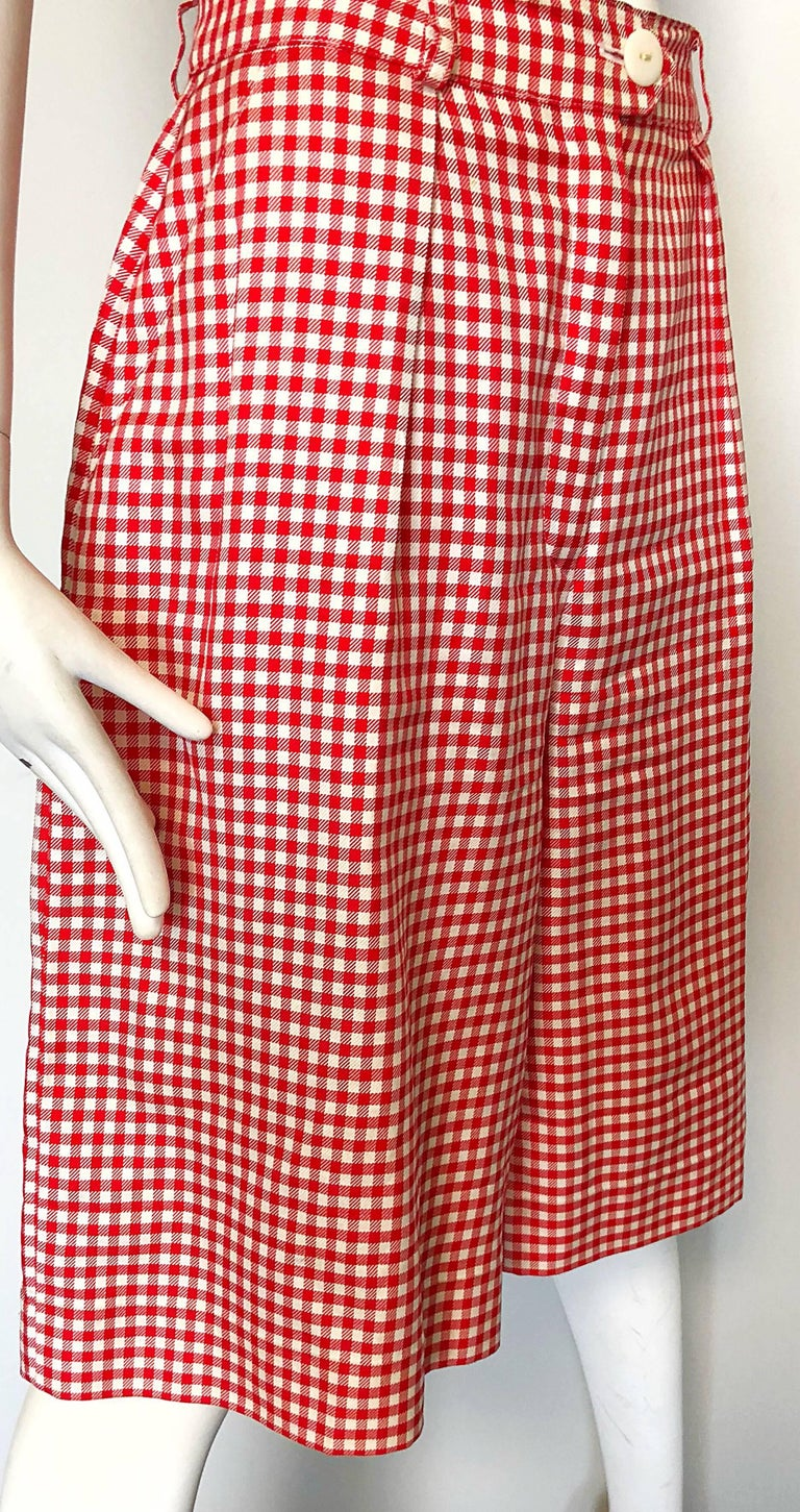 Vintage Escada Margaretha Ley Red White Nautical Gingham 1980s Culottes Shorts For Sale 2