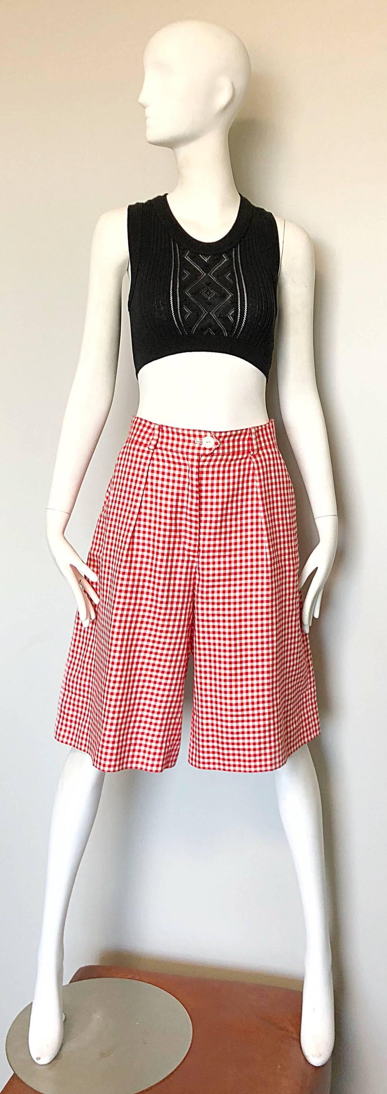Vintage Escada Margaretha Ley Red White Nautical Gingham 1980s Culottes Shorts For Sale 3