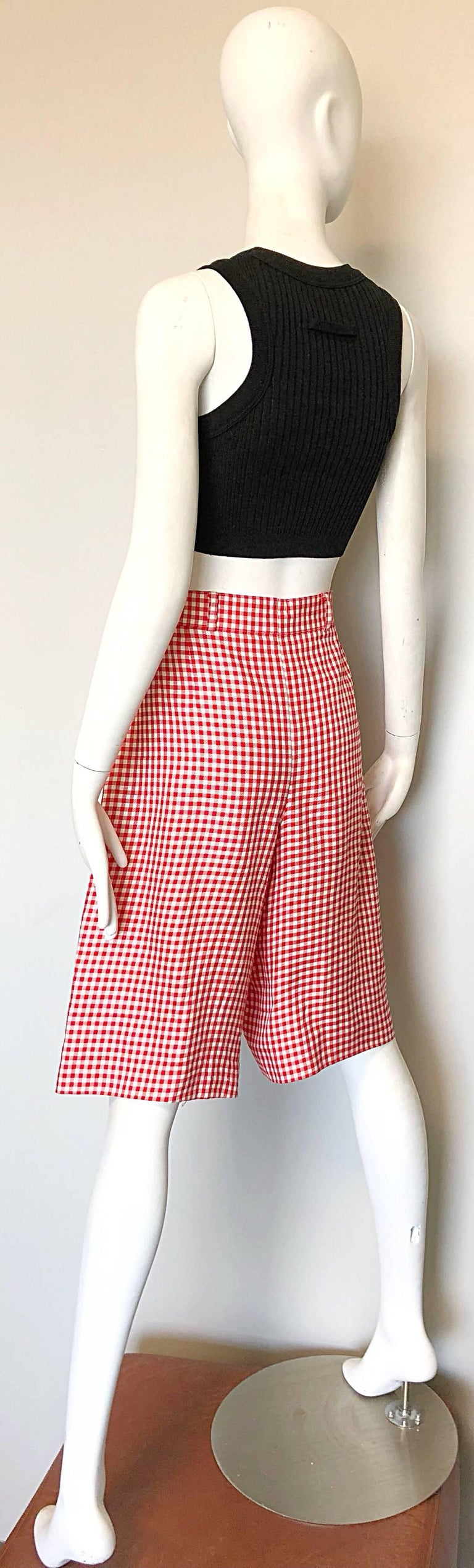 Vintage Escada Margaretha Ley Red White Nautical Gingham 1980s Culottes Shorts For Sale 4