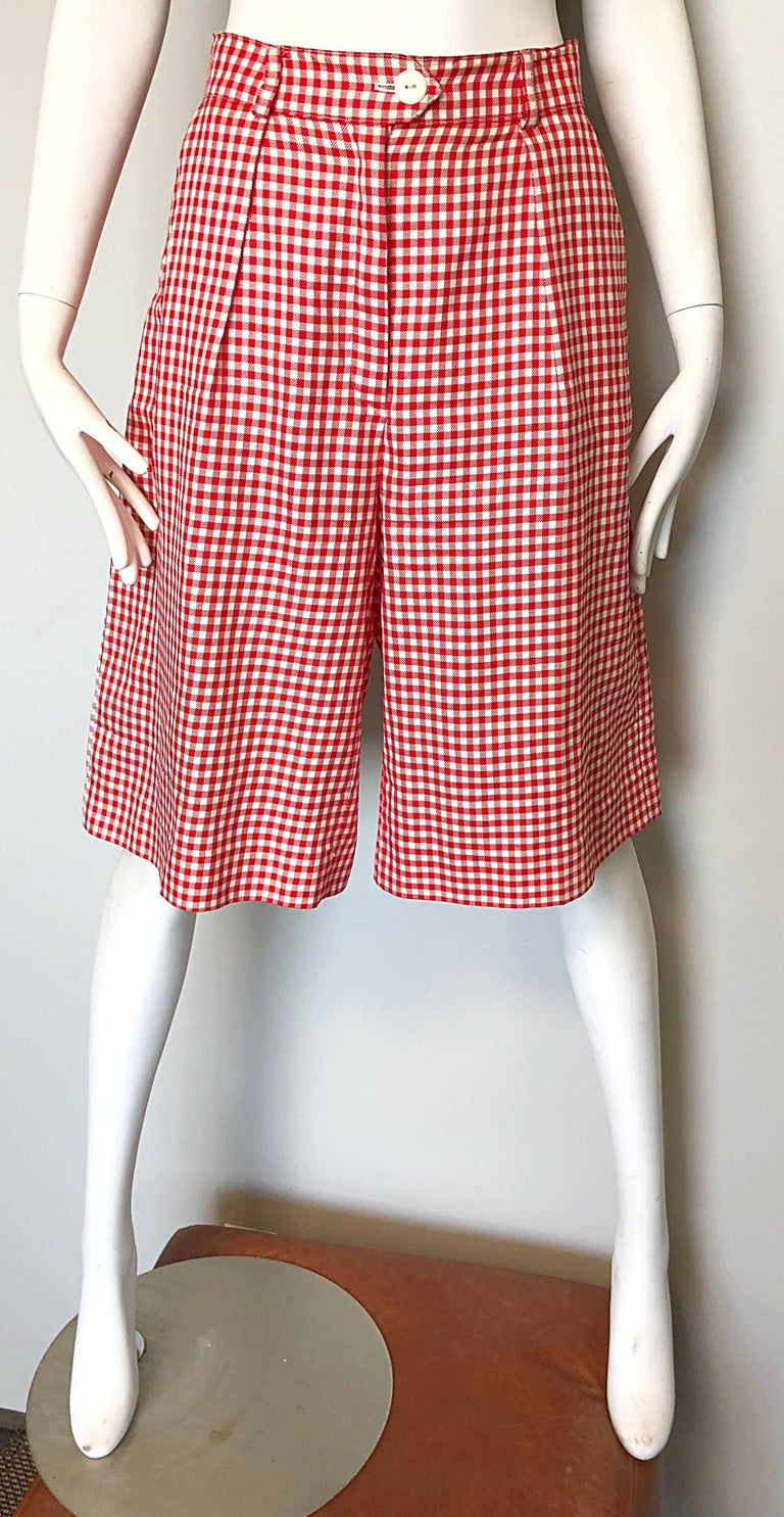 Vintage Escada Margaretha Ley Red White Nautical Gingham 1980s Culottes Shorts For Sale 5