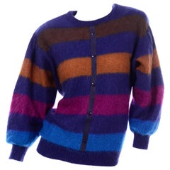 Vintage Escada Margaretha Ley Striped Mohair Sweater W Ballon Statement Sleeves