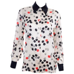 Vintage Escada Novelty Dice Print Silk Blouse in Red White & Black Size 34