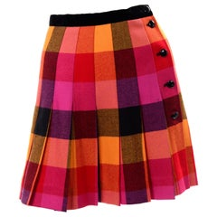 Vintage Escada Pink Yellow + Red Plaid Pleated Wool Skirt 1980s Margaretha Ley