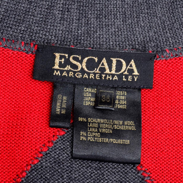 Vintage Escada Red & Black Fleur De Lis Harlequin Oversized Cardigan Sweater For Sale 6