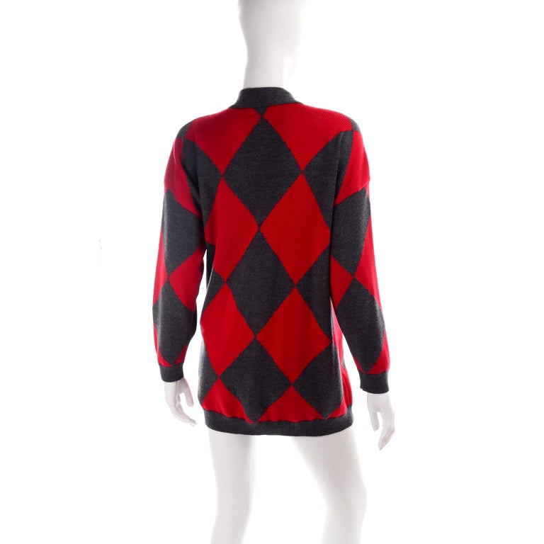 Women's Vintage Escada Red & Black Fleur De Lis Harlequin Oversized Cardigan Sweater For Sale