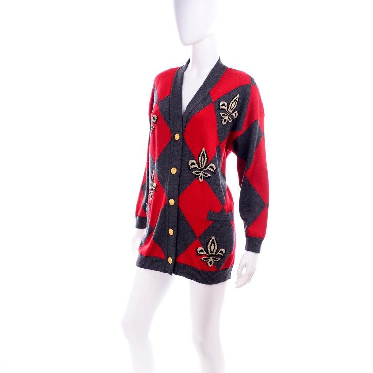 Vintage Escada Red & Black Fleur De Lis Harlequin Oversized Cardigan Sweater For Sale 2
