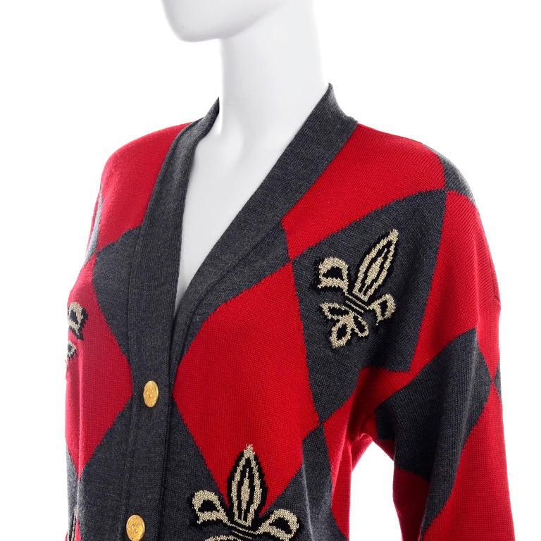 Vintage Escada Red & Black Fleur De Lis Harlequin Oversized Cardigan Sweater For Sale 3