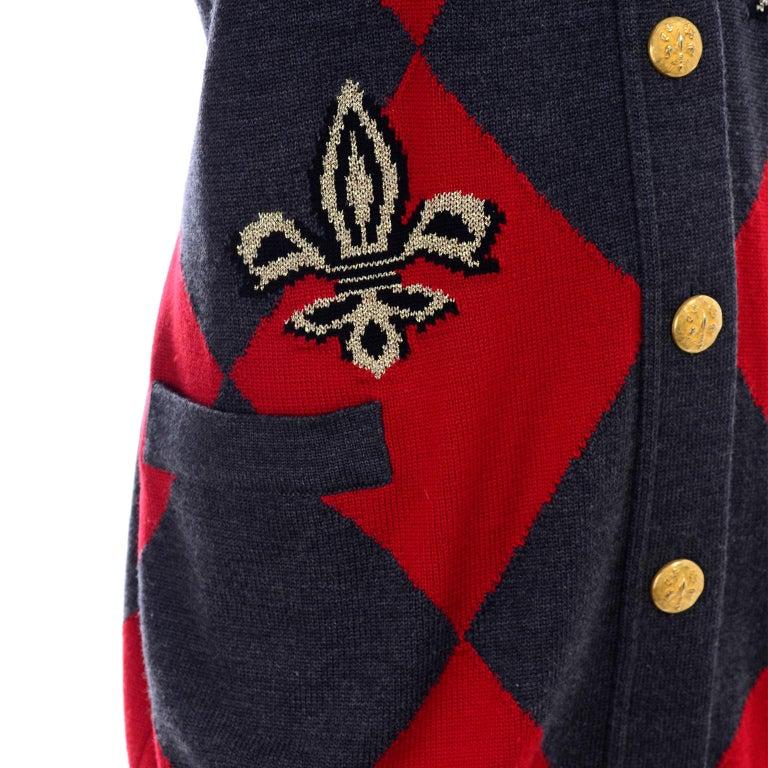 Vintage Escada Red & Black Fleur De Lis Harlequin Oversized Cardigan Sweater For Sale 4