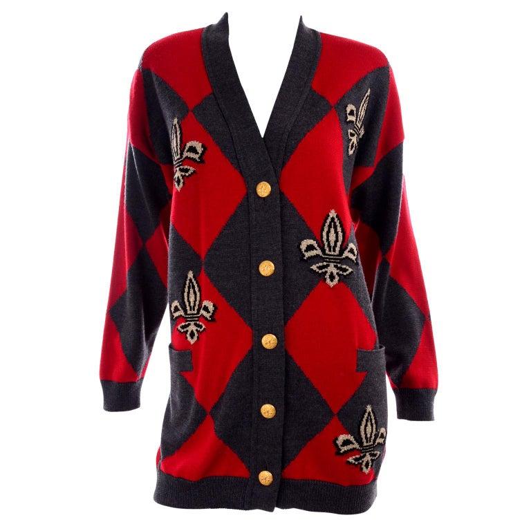 Vintage Escada Red & Black Fleur De Lis Harlequin Oversized Cardigan Sweater For Sale