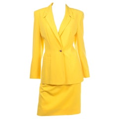 Vintage Escada Yellow Skirt and Longline Blazer Suit Margaretha Ley