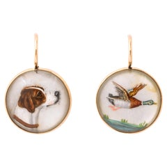 Vintage Essex Crystal Earrings of Pheasant and Hunting Dog