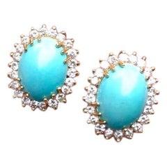 Vintage Estate 14 Karat Gold Turquoise Cabochon 1.75 Carat Diamond Earrings