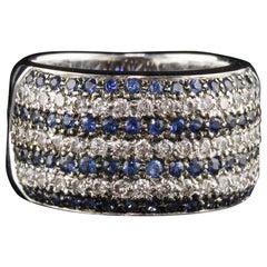 Vintage Estate 14 Karat White Gold, Diamond and Blue Sapphire Ring