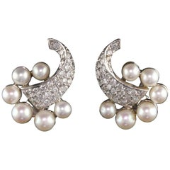 Vintage Estate 14 Karat White Gold Diamond and Pearl Earrings