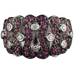 Vintage Estate 14 Karat White Gold Diamond and Pink Sapphire Ring