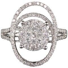 Vintage Estate 14 Karat White Gold Diamond Cluster Ring