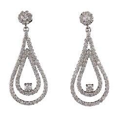 Vintage Estate 14 Karat White Gold Diamond Earrings