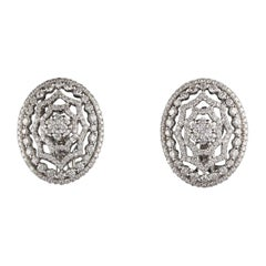 Vintage Estate 14 Karat White Gold Diamond Earrings