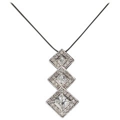 Vintage Estate 14 Karat White Gold Diamond Pendant