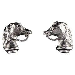 Vintage Estate 14 Karat White Gold Horse Earrings