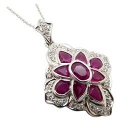 Vintage Estate 14 Karat White Gold Ruby and Diamond Pendant