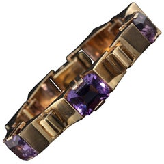 Vintage Estate 14 Karat Yellow Gold Amethyst Bracelet