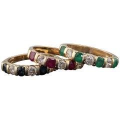 Vintage Estate 14 Karat Yellow Gold Diamond Ruby Sapphire Emerald Stacking Rings