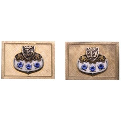 Vintage Estate 14 Karat Yellow Gold, Enamel and Sapphire 'L' Initial Cufflinks
